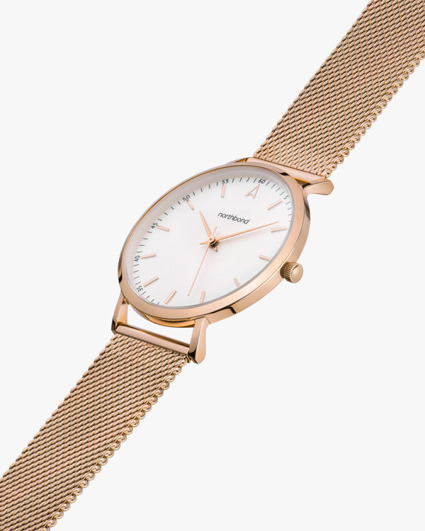 lace watch rose gold mesh