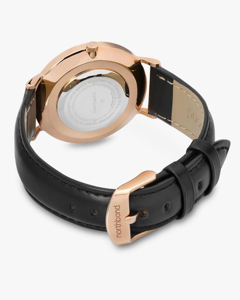 noir watch rose gold black leather